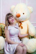 кремовый плюшевый медведь 2 метра