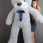 купить серую мягкую игрушку медведь большой