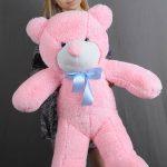 Розовый метровый мишка