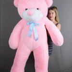 купить розовую мягкую игрушку медведь большой